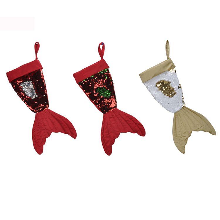 Porte-cadeaux de cadeau de Noël bas paillettes queue de sirène enfants sac de bonbons Noel décoration ornements d'arbre de Noël