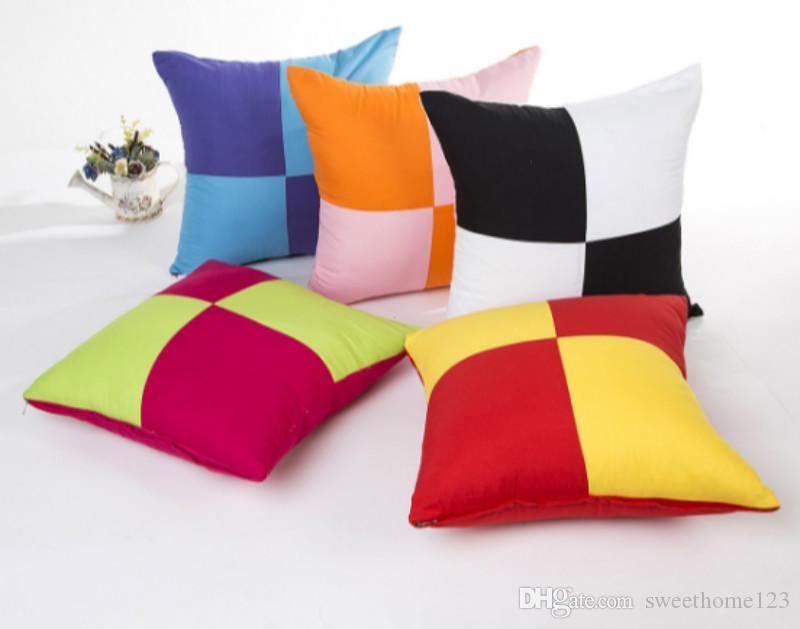 Nueva llegada Funda de almohada de lijado Cuadrado Impreso color que bloquea Sofá decorativo y funda de almohada de cama Fundas de cojines de color caramelo para oficina Coche