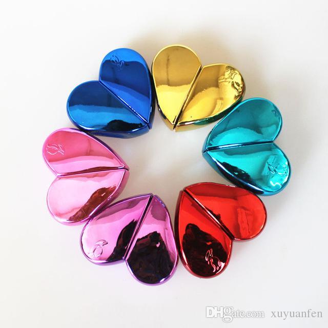 1 UNID 25 ml Botellas de perfume de vidrio en forma de corazón con atomizador recargable atomizador de perfume vacío para mujeres 6COLORES