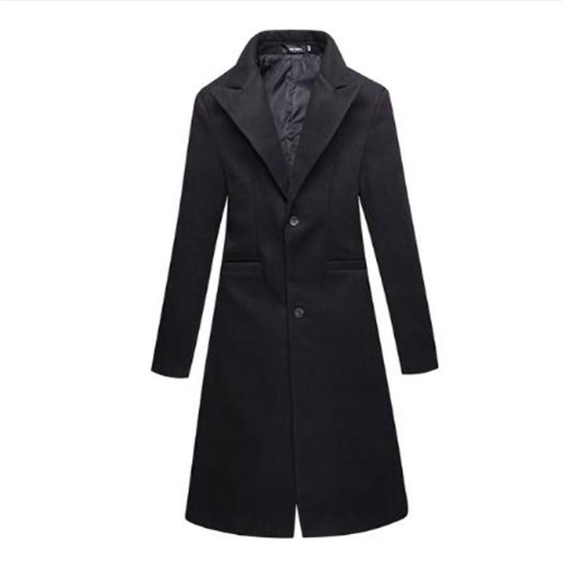 New 2018 hiver tissu hommes noirs minces affaires affaires plus longues tranchées manteaux / mâle laine fine laine mélanges de manteaux manteaux