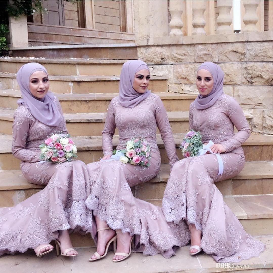 2018 New Arrival Purple Muslim Mermaid Bridesmaid Dresses Lace Long Sleeves Bead Maid of Honor Dress Prom Evening Gowns Formal Dress Elegant