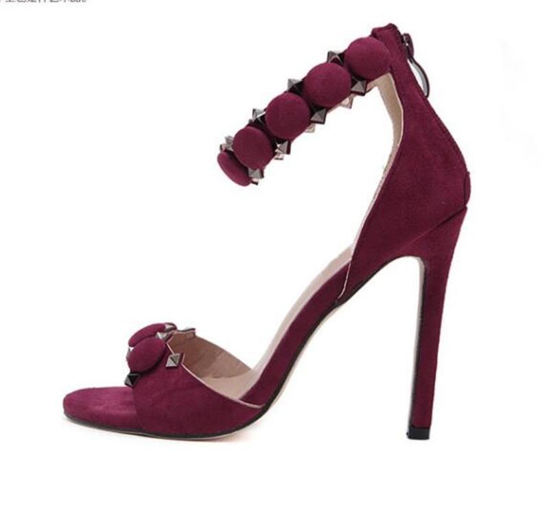 2018 femmes romaines pompes à vin rouge cristal noir stiletto mince hauts talons chaussures été strass sandales femme