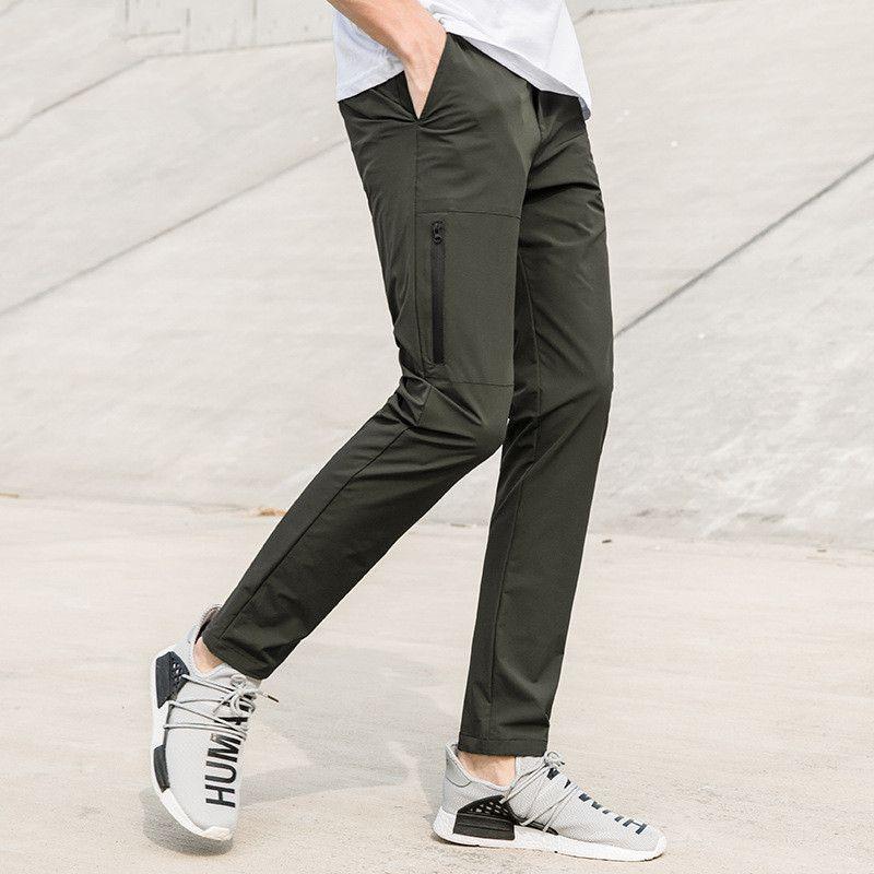 Yeni moda çabuk kuruyan pantolon erkek marka-giyim su geçirmez streç pantolon erkek kalite lacivert asker yeşili rahat pantolon