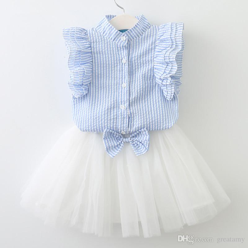 baby clothes girls striped tops+bow lace skirt clothing set girl's outfits children suit kids summer boutique clothes 2 colors