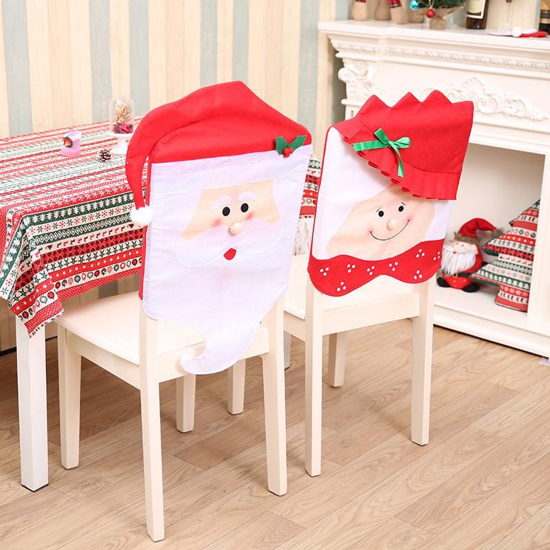 Decorazioni per la tavola di Natale Babbo Natale Mrs. Claus Cap Coperture per sedie per la festa di casa. Decorazioni di Buon Natale