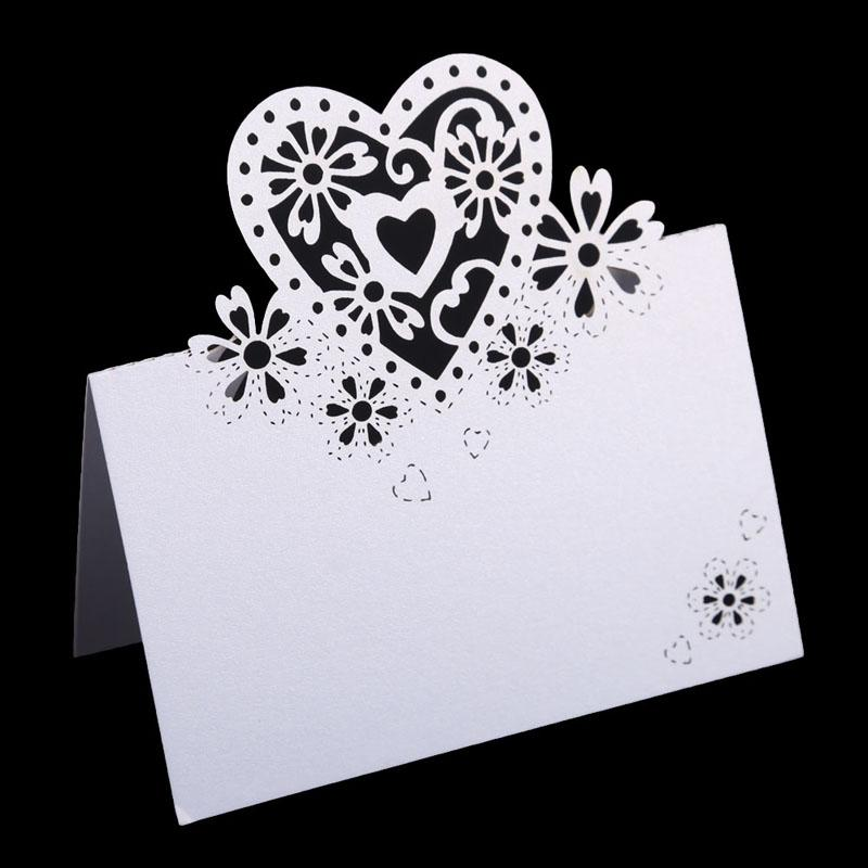12pcs Wedding Table Decoration Place Cards Laser Cut Floral Wine Glass Place Cards Heart Shape Table Name Card For Party Decor