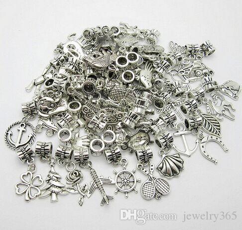 100 teile / los Silber Überzogene Gemischte Vintage Große Loch Lose Perlen Europäischen Anhänger fit Pandora charms Für Armband Schmuck, der erkenntnisse