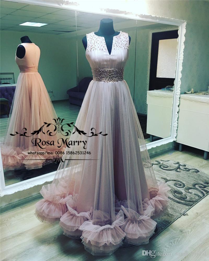 Prenses 3D Çiçek Arapça Gelinlik Modelleri 2019 A Hattı V Boyun Artı Boyutu İnciler Uzun Tül Dubai Afrika Kız Pageant Quinceanera Abiye giyim