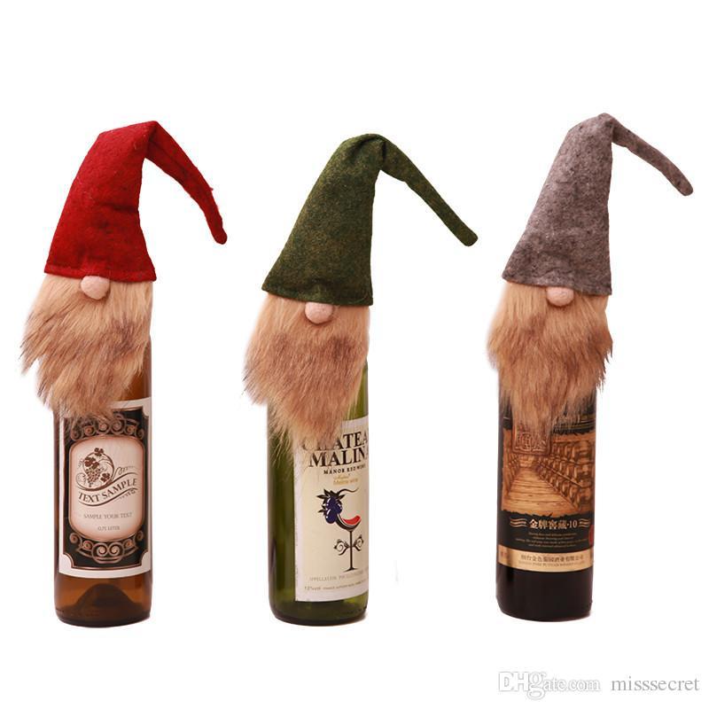 New Arrival Dekoracje Boże Narodzenie Boże Narodzenie Butelka Worek Torba Szampański Butelka Pokrywa Xmas Home Party Obiad Dekor