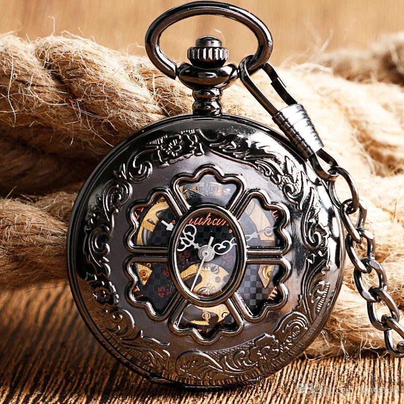 Bela Flor Oco Fob Relógio De Luxo Preto Pingente de Bolso Mecânico Do Vintage Relógios para Mulheres Dos Homens frete grátis