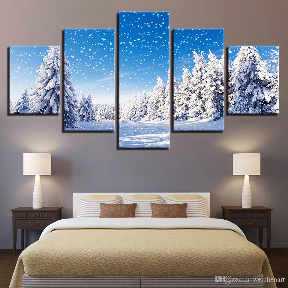 Canvas HD Prints Pictures Wall Art Framework 5 Pieces Snow Scene Poster Christmas Pine Trees Snowing Paintings Living Room Artworks