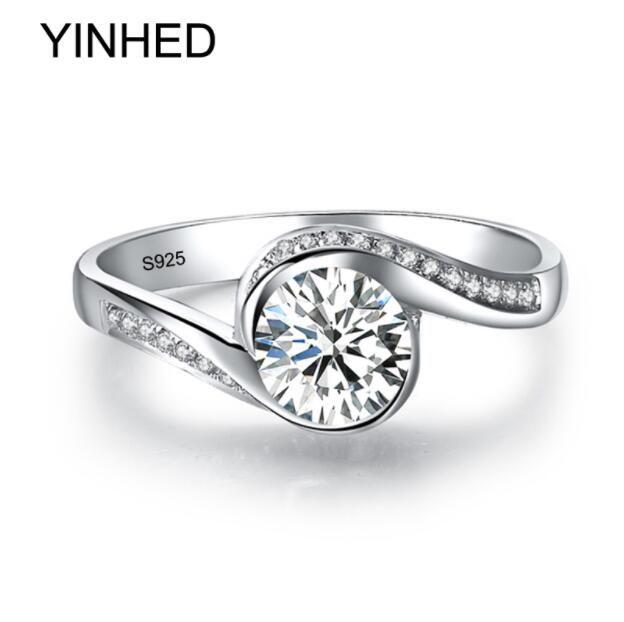 ZHF Bijoux Elegant Solitaire Bague Véritable 925 En Argent Sterling Anneaux De Mariage pour Femmes 6mm 1 Ct CZ Diamant Bague De Fiançailles