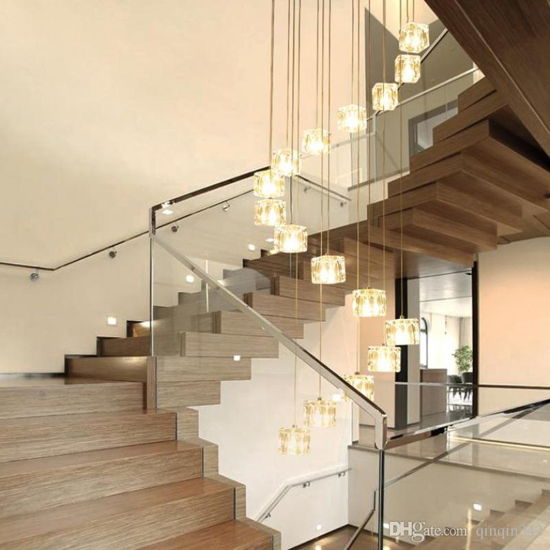 6 40 Lights Staircase Art Deco Led Cubic Glass Pendant Lights For
