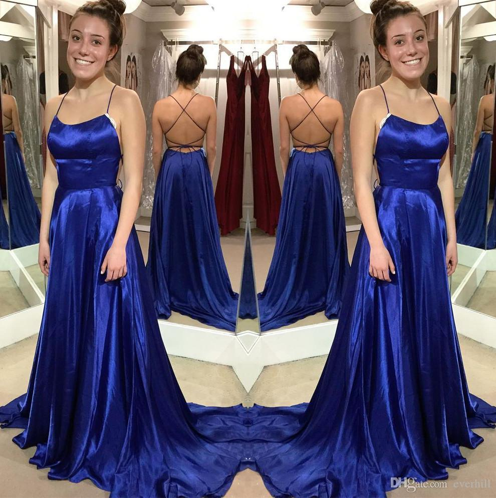 JaneVini Royal Blue Sexy Prom Dresses 2018 Halter Backless Sweep Train Formal Gowns Elastic Satin Criss Cross Straps Back Party Dresses