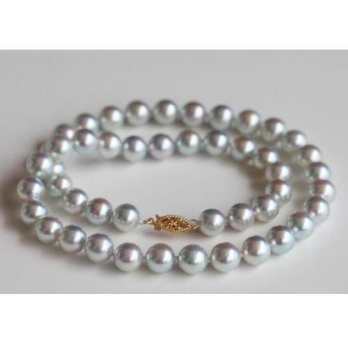 """Collana 8-9mm reale naturale rotonda grigio mare grigio perla grigio 18 """"14k giallo"""