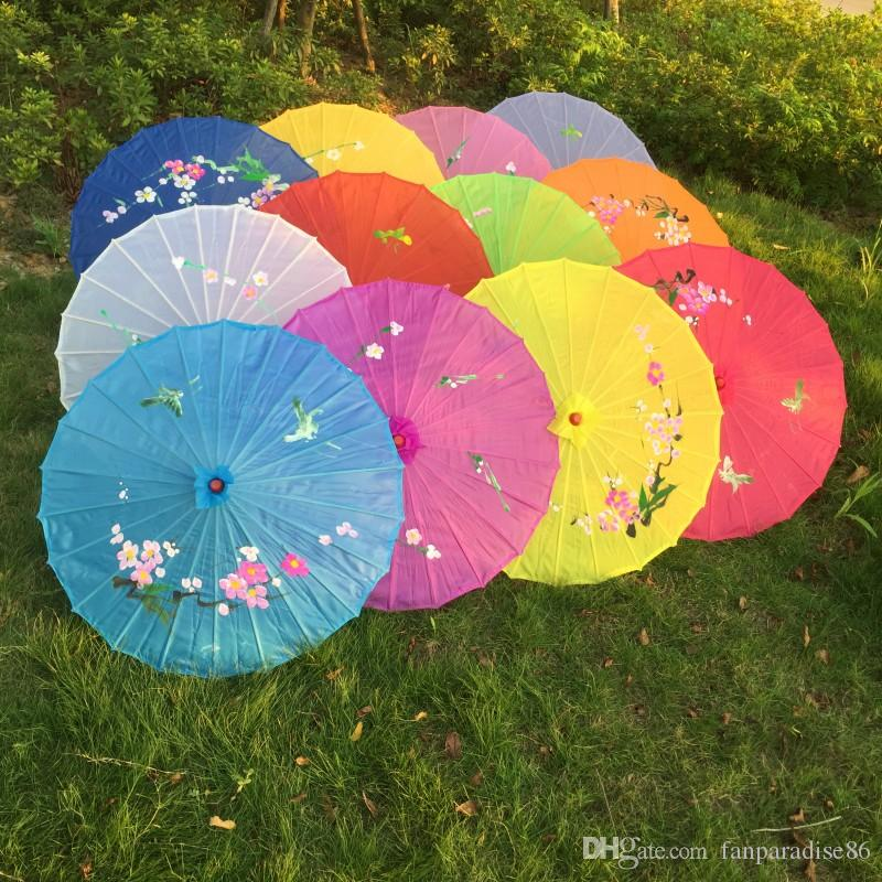 Free shipping 100pcs/lot hand-painted flower design 12colors Chinese art umbrella bamboo frame silk parasol for bride & bridemaide
