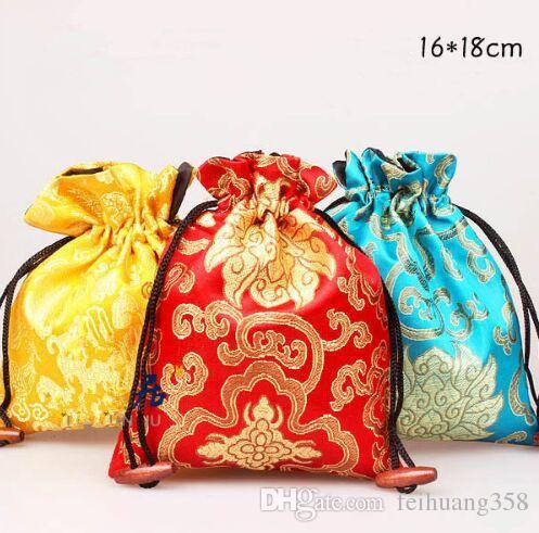 Neşeli Çiçek Desenler Craft Bez Çanta İpli Ipek Brokar Hediye Paketleme Çantası parfüm Takı Biblo Depolama Cebi 10 adet