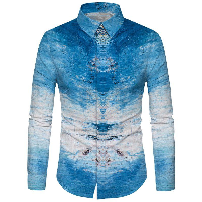 Cloudstyle Blue Sky White Cloud-Farbstoff-Shirt Herren Neues Design Langarm Slim Hawaiian Shirt 3D Gedruckt Ozean Camisa 5XL Tops
