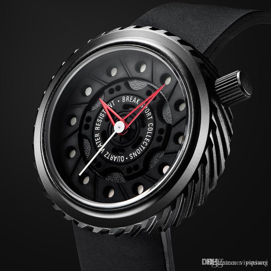 Lüks spor araba Kuvars İzle siyah Silikon kayış Erkekler askeri Saatler Lastik şekli Su Geçirmez benzersiz tasarım Spor kol saati stereoscop