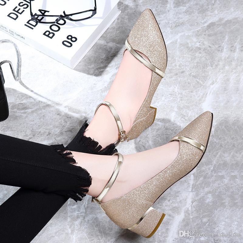 Sapatos Feminino Moda Bayan Seksi Düşük Orta Kitten Topuklar Ayakkabı Pu Patent Deri Sivri Pompaları Altın Boyutu 34-41