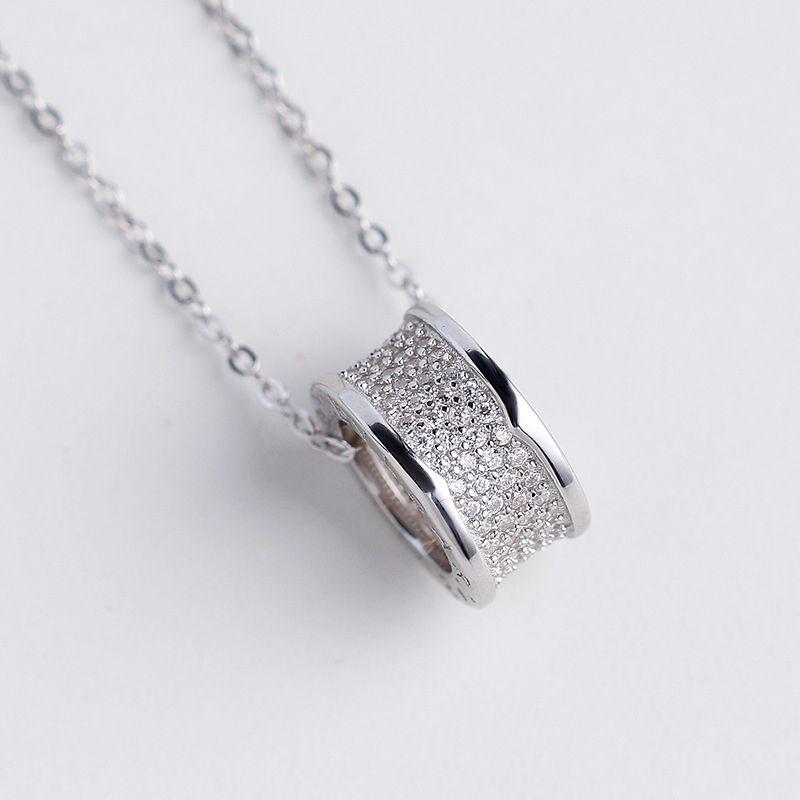 S925 Sterling Silver Diamond Necklace Women Ring Pendant Tubogas Shape Chain Woman Charm Wedding Diamonds Necklaces