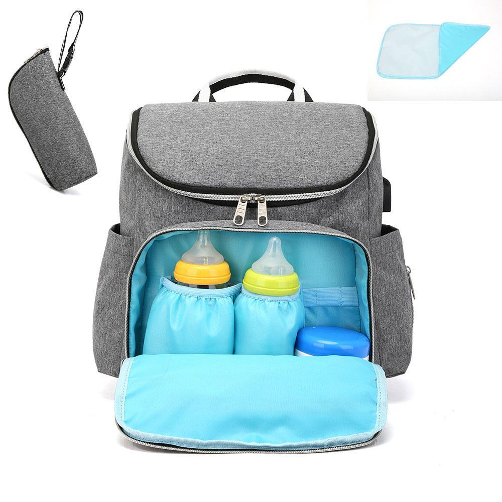 Borsa per zaino per bambini con infermiera grande capacità USB Diaper Bags Mummy Maternity Travel Viaggi interfaccia per passeggino Bacik