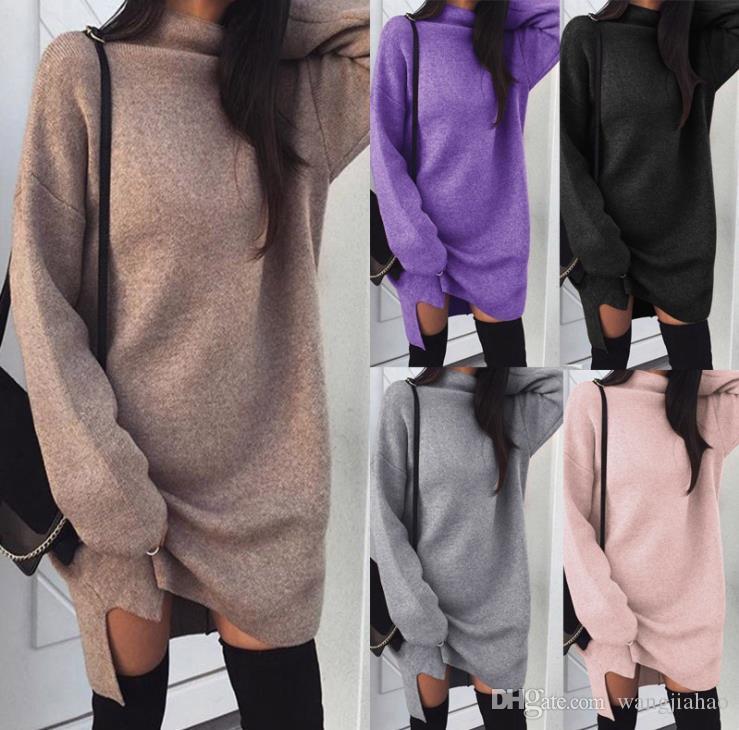 Bayan Giysileri için Elbiseler Womens Kaplumbağa Boyun Uzun Kollu Örgü Kış Jumper En Gevşek Kazak Elbise Rahat