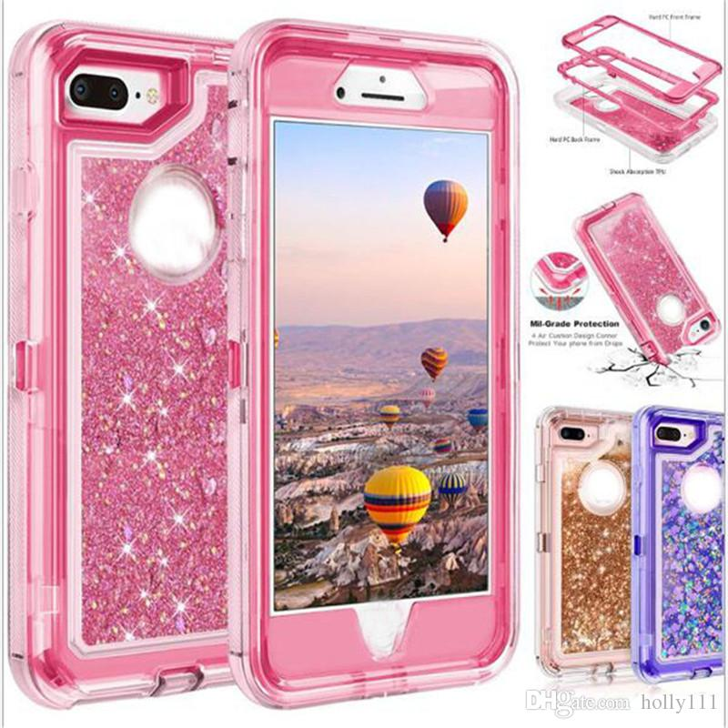 Bling crystal defender cover case 액체 방울 방수 내 충격성 전화 케이스 iPhone X 용 Samsung S9