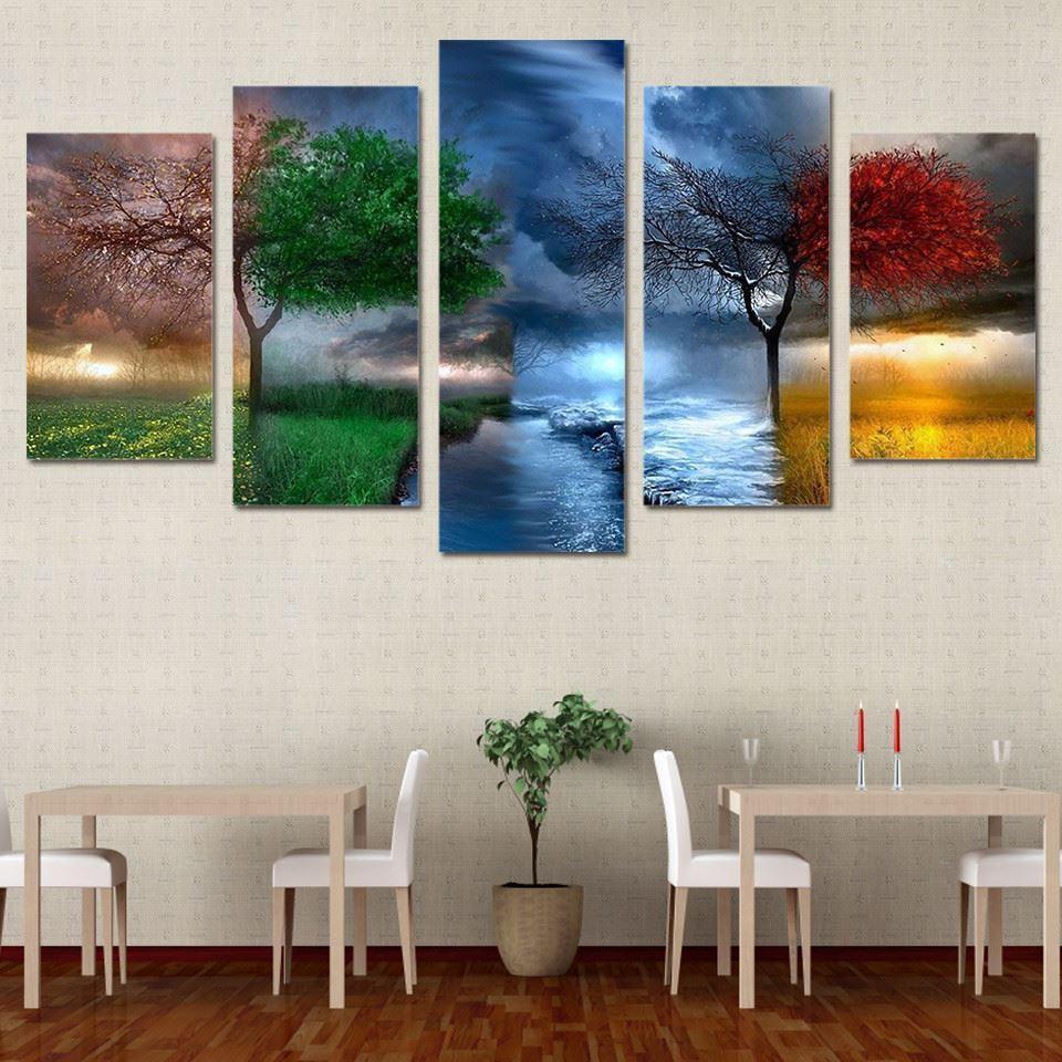 Großhandel 5 Panels Bunte Jahreszeit Wetter Baum, Hd Kunst Ölgemälde ...