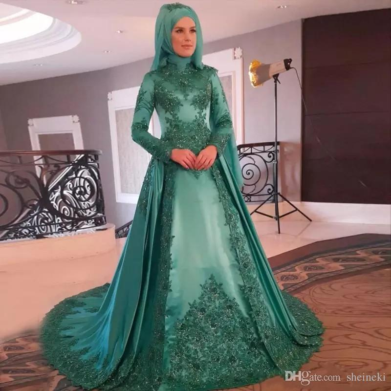 2018 Arabic Hunter Green Satin Muslim High Neck Evening Dresses Long Sleeves Appliques Sequins Beaded Hijab Prom Dresses Saudi Gowns