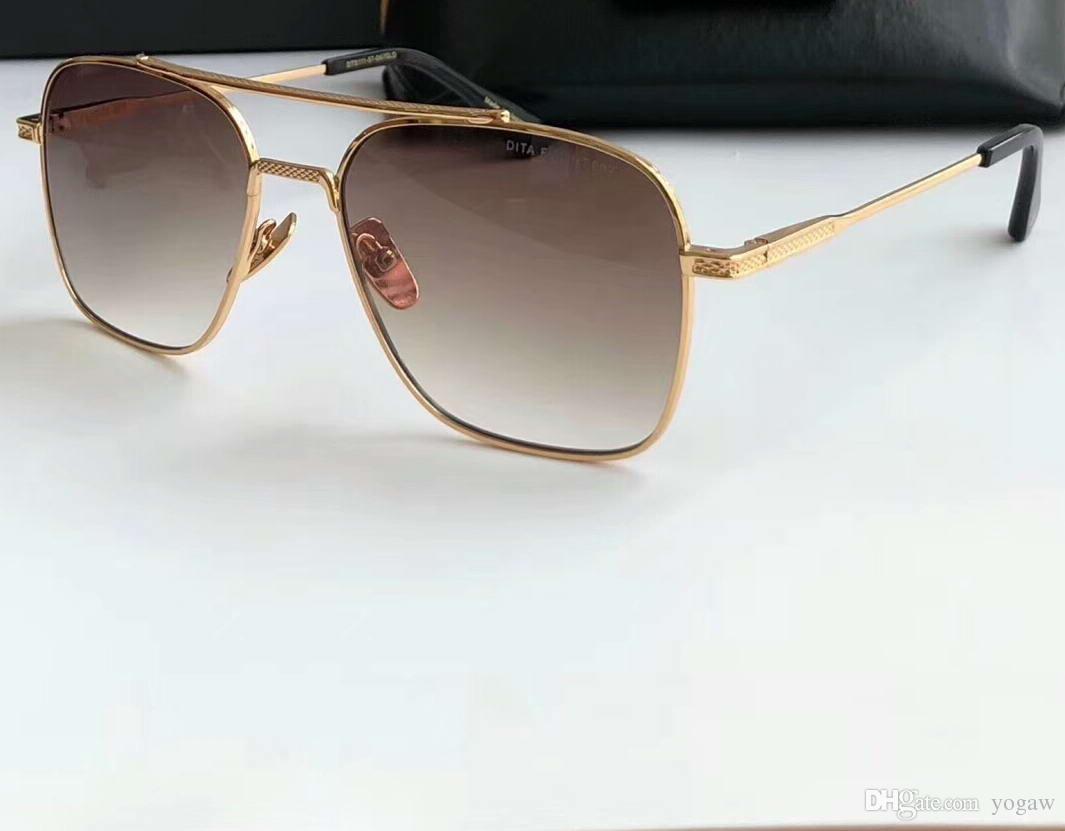 Square Pilot солнцезащитные очки Черное золото-коричневые оттенки мужчин унисекс очки очки Sonnenbrille New WTH коробка