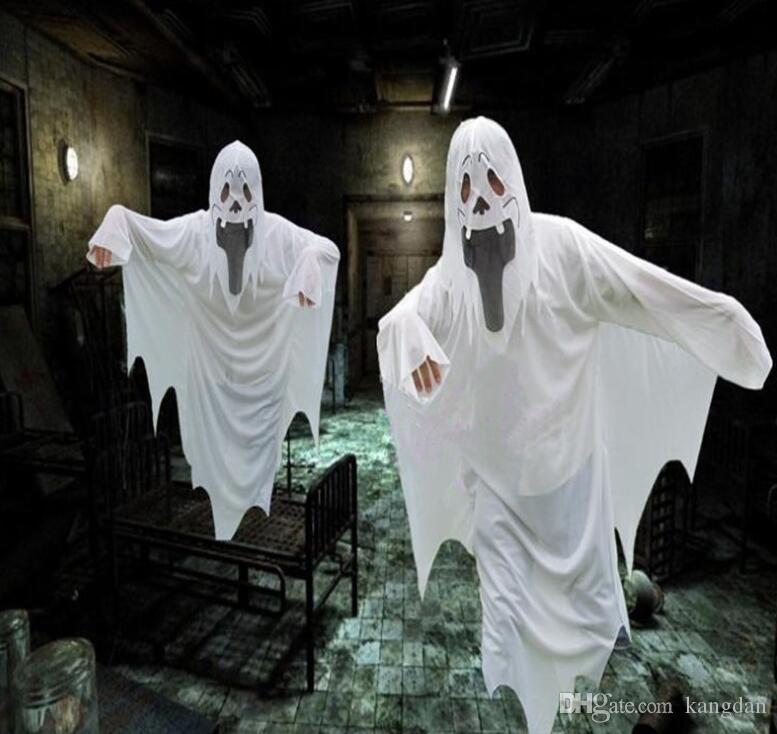 Halloween blanc fantôme manteau cosplay partie diable vêtements festival fantôme costume vêtements Scare cape pour enfants adulte en gros