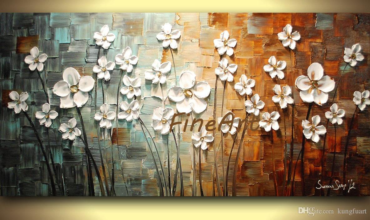 dipinti a mano grandi dipinti ad olio fiore astratto trama pesante con spatola sconto migliore pittura a olio su tela decorazione d'arte per la casa