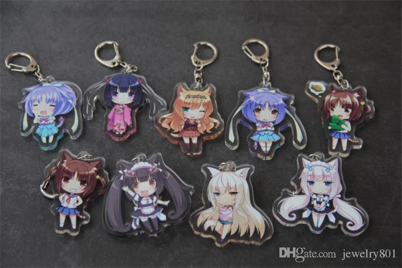 Anime nekopara chocola baunilha acrílico chaveiro chaveiro cosplay chaveiro pingente de halloween cosplay anel chave de presente de natal