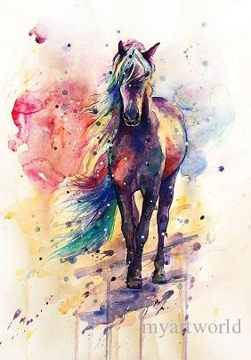 Framed Horse Pure Handpainted Abstract Animal Art Oil Painting On High Quality Canvas For Wall Decor Multi Sizes Free Shipping,A095