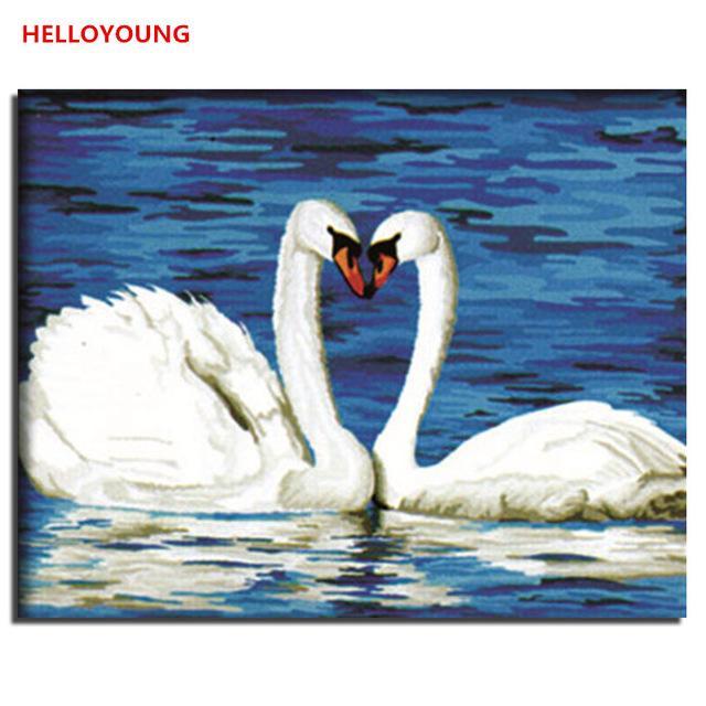 Animal Love White Swans Digital Painting Picture Handpainted Oil Painting Cnavas