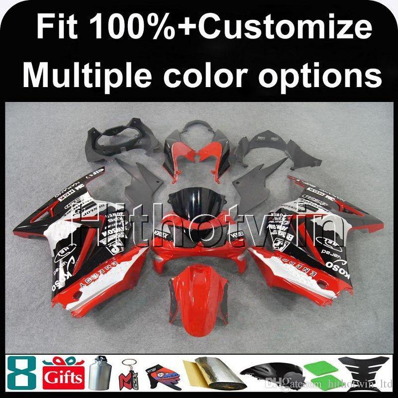 23colors + 8Gifts Injecção molde tampa branco vermelho branco motocicleta para Kawasaki ZX250R EX250 2008-2012 EX 250 08 09 10 11 12 ABS carenagens