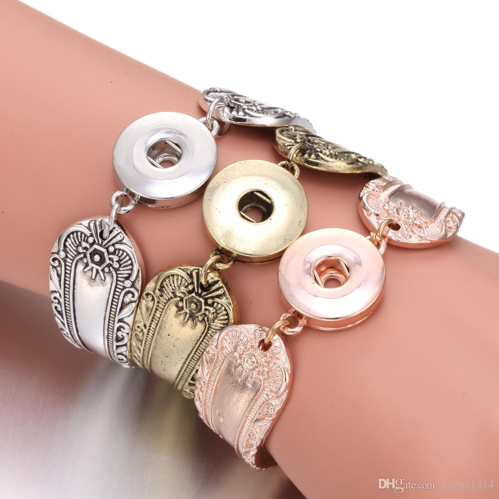 New Noosa Jewelry Flower Carved Magnetic Snap Button Bracelet Bangle Silver Cuff Bracelet for Men Women Couple Bracelets