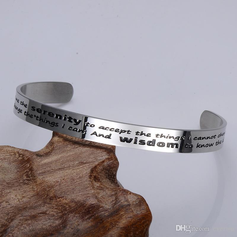 2019 New Products Serenity Wisdom Cuff Bangle Bracelet Titanium Steel Jewelry Religion Cuff Bracelet Bangle for Man