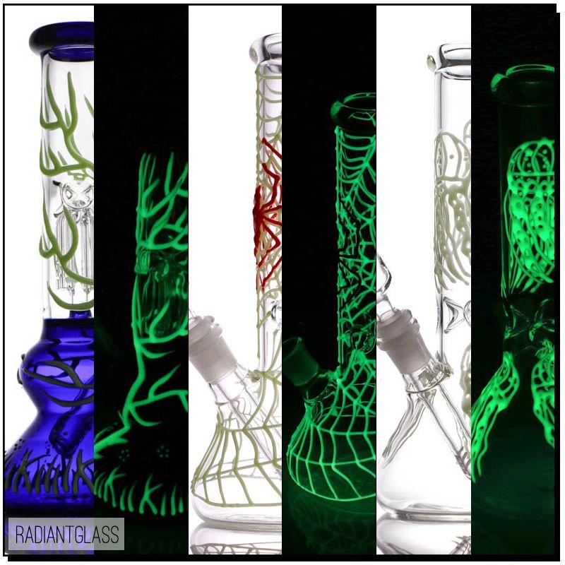 Faihahs Luminous Beaker Bong Glass 2 typy Bongs z DG Oil Rig Dab Water Rury Wysokiego 10 '' Mały prezent
