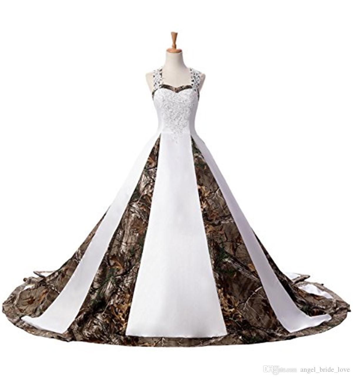 2017 Yeni Kamuflaj Gelinlik Aplikler ile Balo Uzun Camo Düğün Parti Elbise Gelinlikler Stcok WD1013