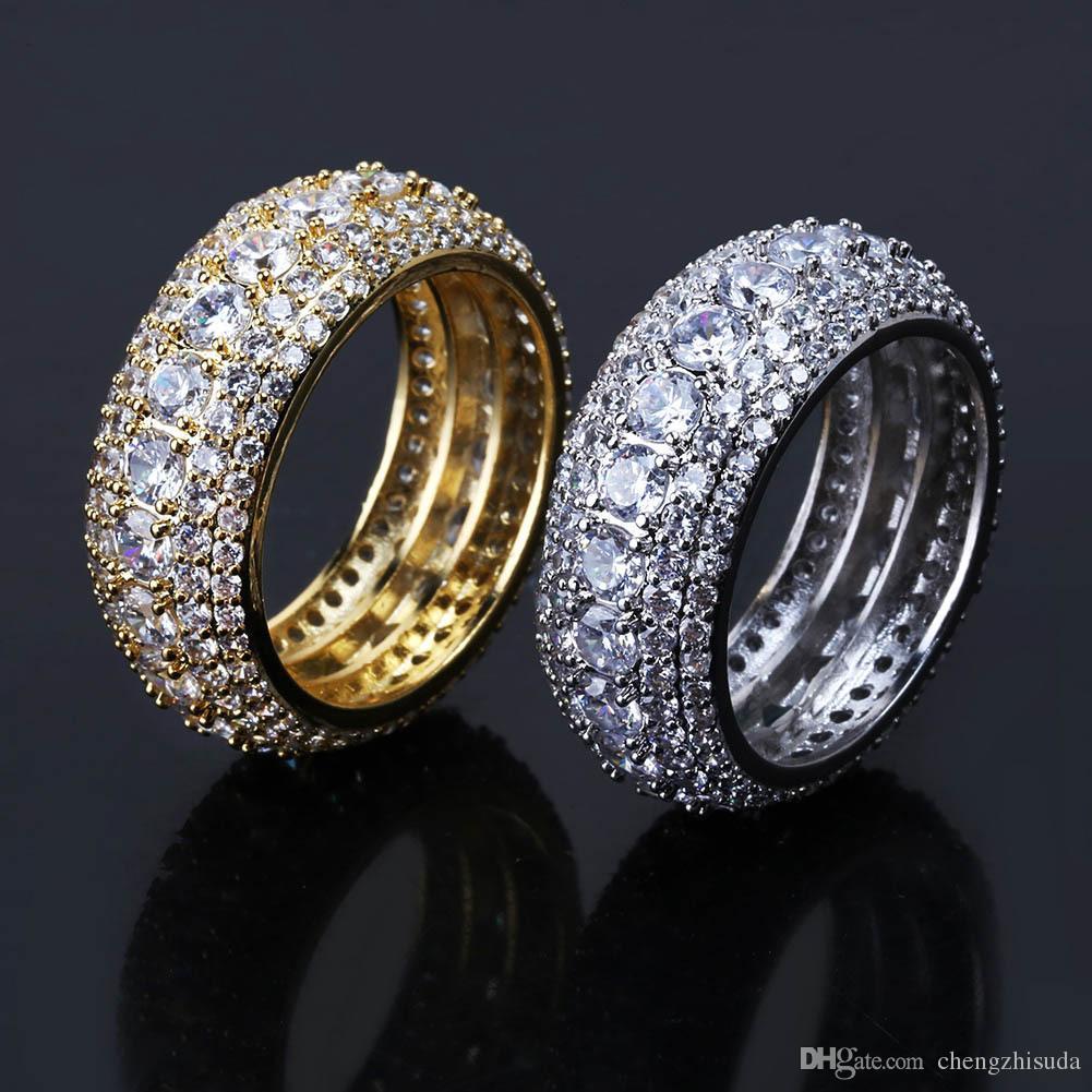 Größe 6-12 Whosale HipHop 5 Reihen Luxus Kubikzirkone Ring Mode Gold Silber Männchen Fingerringe