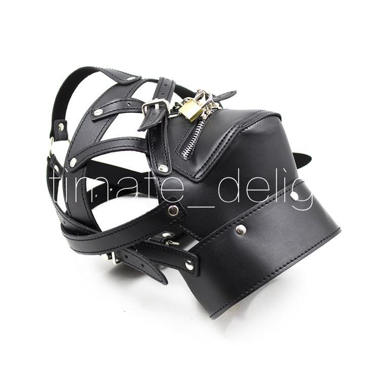 Toy Game,For Male/Female,Leather Hood Bondage Mask Neck Bondage Zipper Mouth Restraints Sex Sex Game Head Gagged Collar Mask Products A Oheh