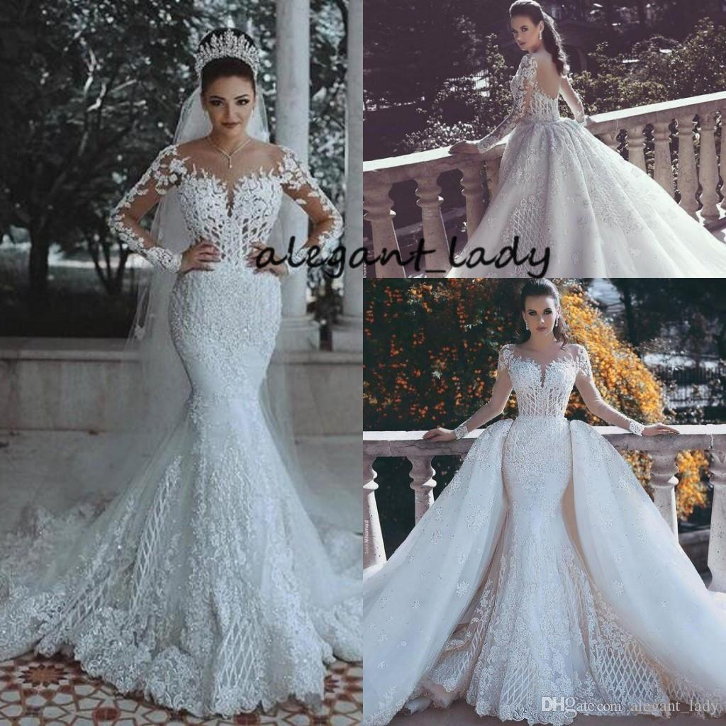 Mermaid Long Sleeve Wedding Dresses with Overskirt Detachable Train 2018 Luxury Lace Crystal Detail Dubai Arabic Princess Wedding Gown