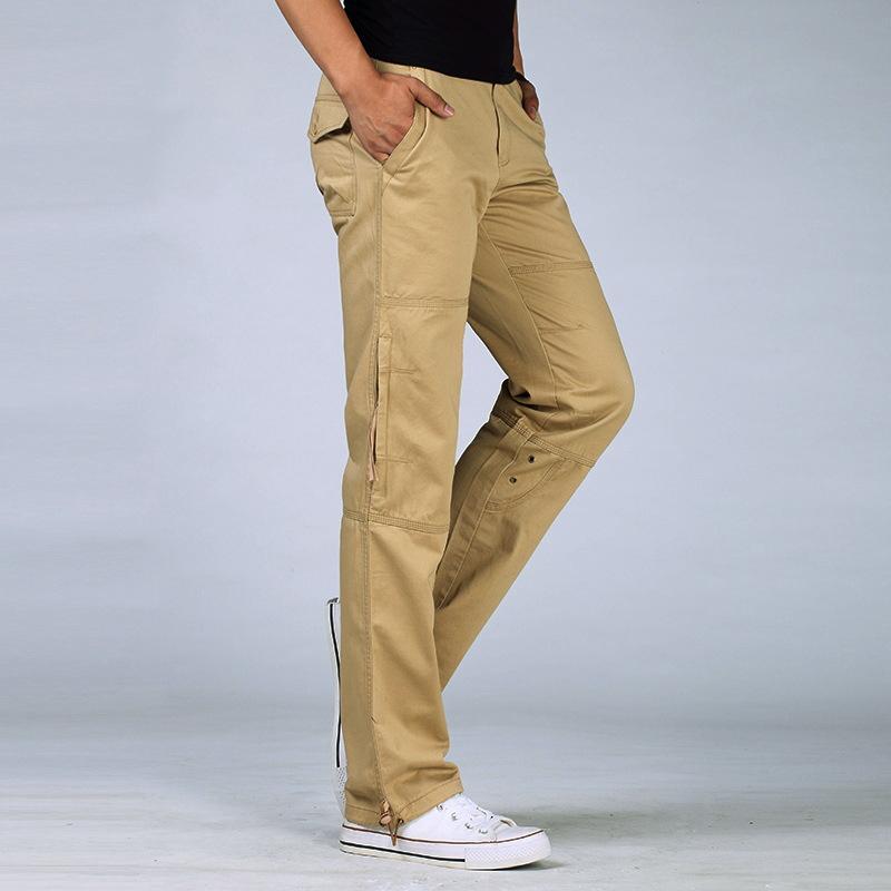 Coton gris Armée Style Pantalons Pantalon tactique décontracté pour hommes Hommes Pantalon de survêtement Combat Cargo Mâle Slim Fit Kaki Vert