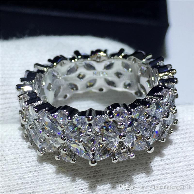 kadınlar erkekler için El Yapımı Eternity Takı 925 ayar gümüş yüzük Elmas Taşlı taş Çiçek şekli Parti düğün bant yüzük
