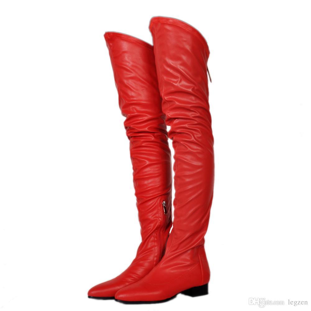 Legzen Moda Botas por encima de la rodilla Punta estrecha Tacones bajos Botas Negro Blanco Vino Rojo Desnudo Rojo Zapatos Mujer Tallas grandes