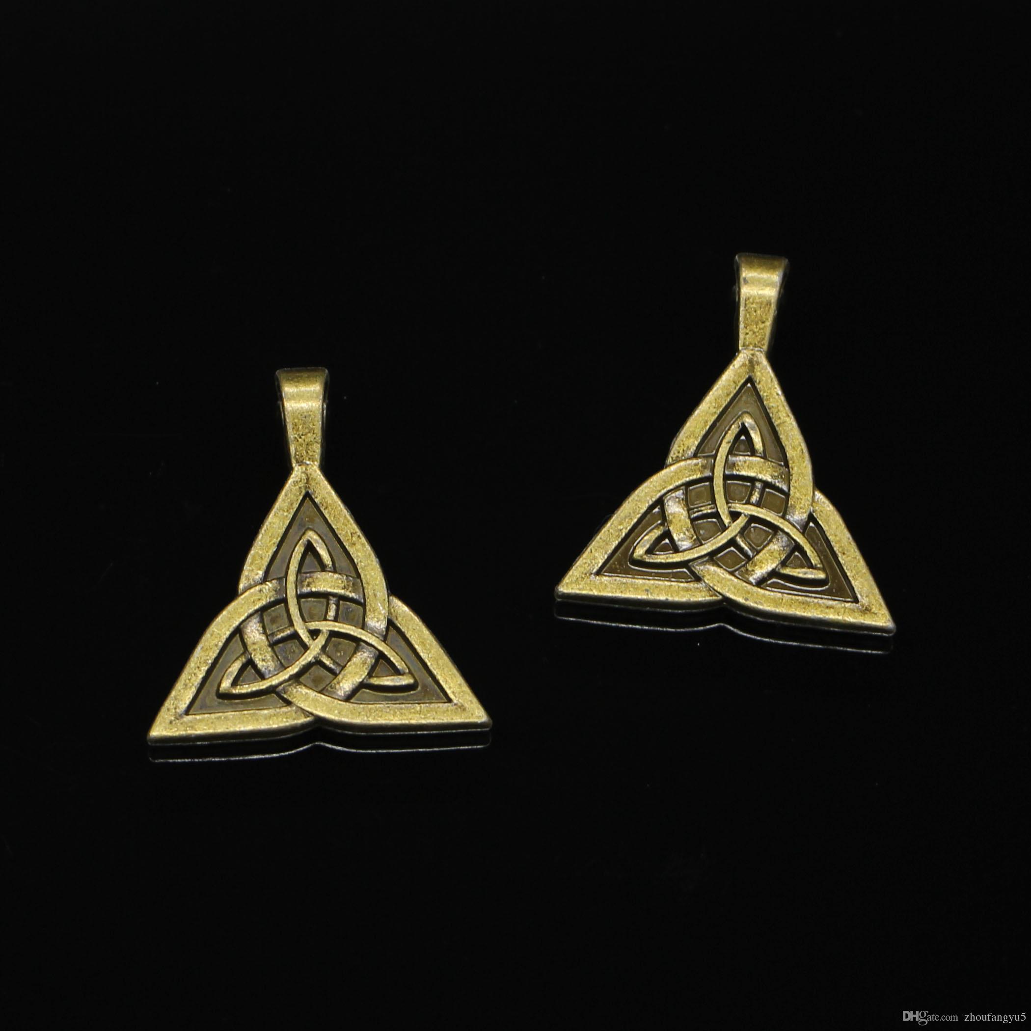 28 stücke Zink-legierung Charms Antike Bronze Überzogene keltische knoten amulett Charme für Schmuck Machen DIY Handgefertigte Anhänger