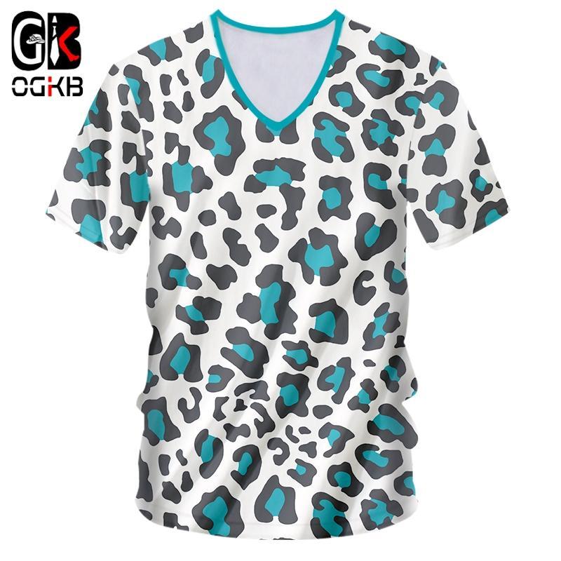OGKB été style nouveau col en V T-shirts Homme Polka Dot 3D T-shirt d'impression léopard bleu Casual 5XL 6XL Attire pour les hommes