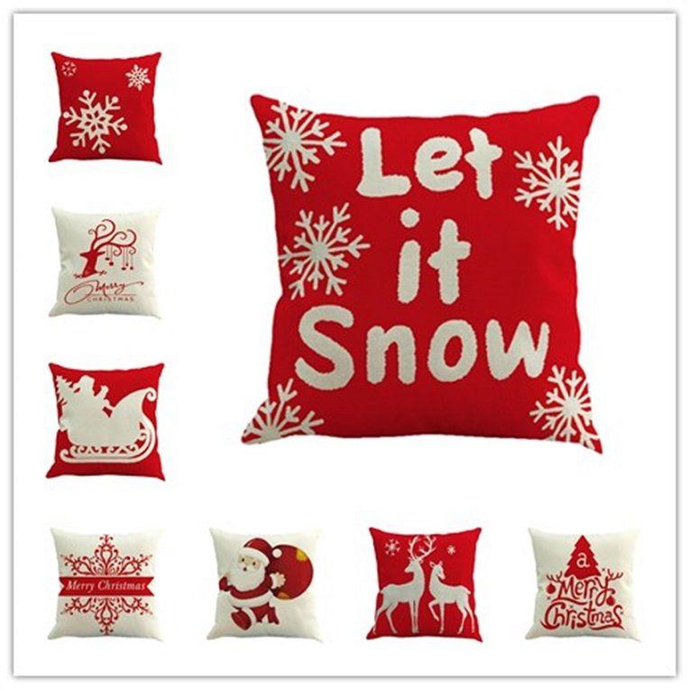 Christmas Pillows.Merry Christmas Pillows Case Flax Xmas Pillow Cover Reindeer Elk Christmas Tree Sofa Cushion Covers Santa Claus Christmas Decorations Best Christmas
